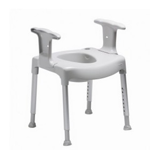 fristående toalettsits - justerbara ben i höjdled - vit -grå