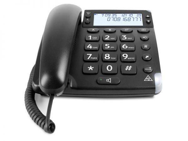 telefon - stora knappar - svart - display