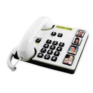 telefon - stora siffror - vit - bilder på kontakter