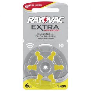 Förpackning med 6 st hörapparatsbatterier - gul