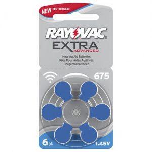 Förpackning med 6 sthörapparatsbatterier - blå